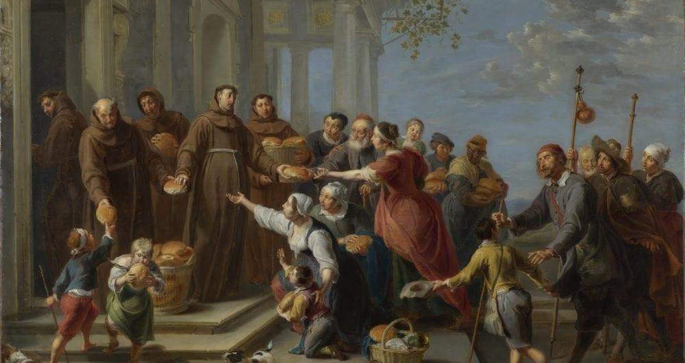 San Antonio repartiendo pan a los pobres